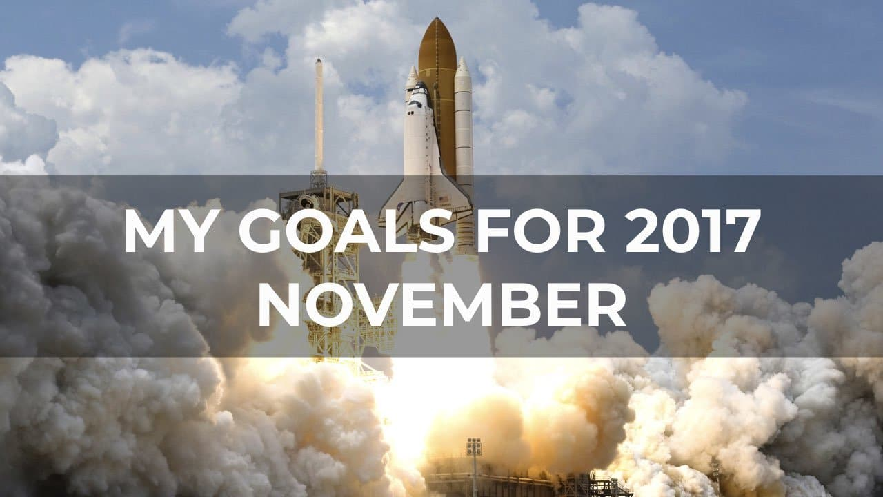 My Goals For 2017 - November 1