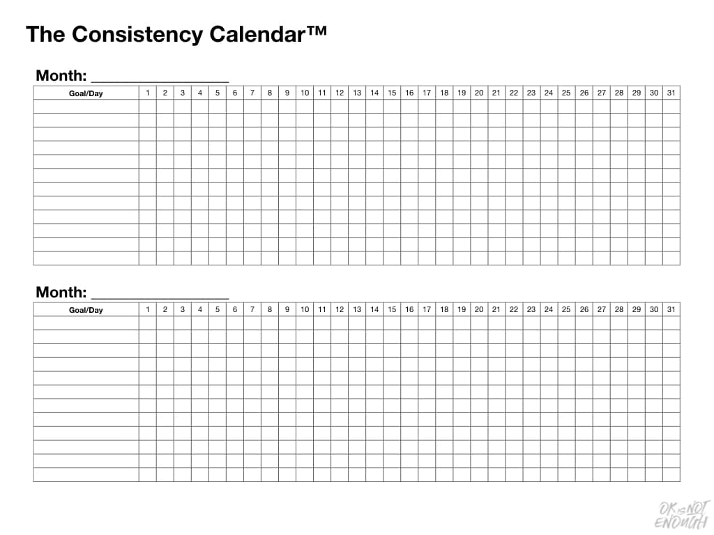 Have You Tried The Consistency Calendar? The Consistency Calendar Monthly