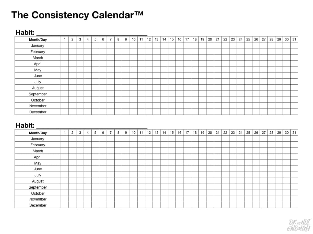 Have You Tried The Consistency Calendar? The Consistency Calendar Yearly