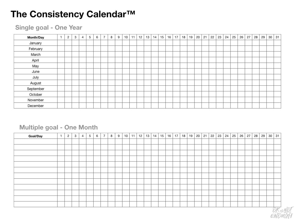 Have You Tried The Consistency Calendar? The Consitency Calendar Overview